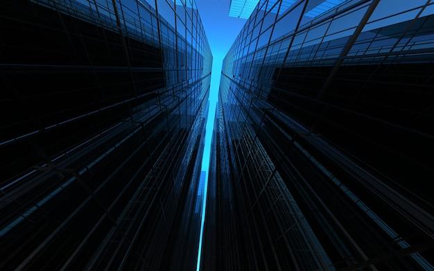 空を背景にしたモダンな高層ビル。