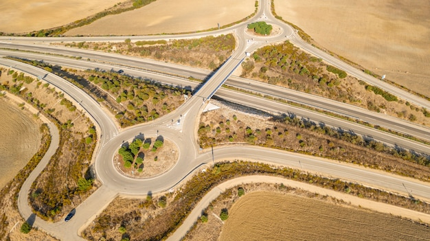 Modern highway taken by drone