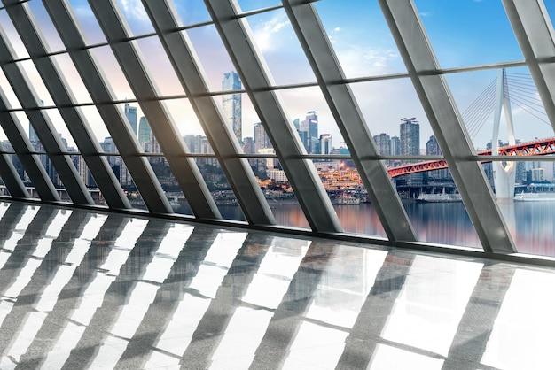 Modern highway windows and modern city skylines