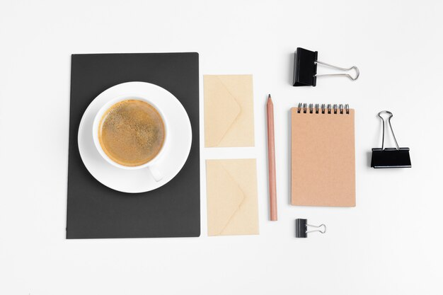 Modern hipster style stationery mockup with various paper items, office supplies