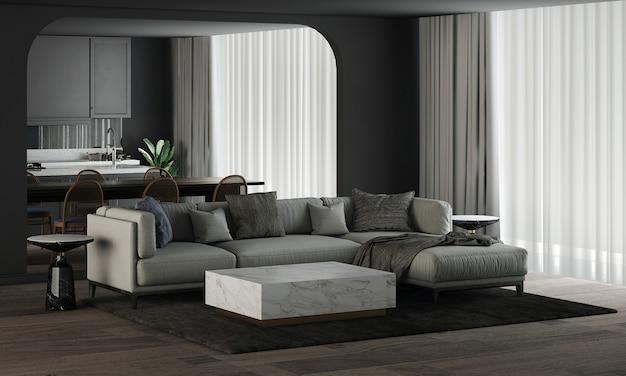 モダンな家と装飾は、美しいリビングとダイニング、パントリー ルームの家具とインテリア デザインをモックアップし、黒い壁のテクスチャ背景 3 d レンダリング