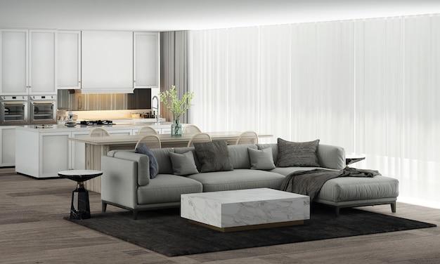 モダンな家と装飾は、美しいリビングとダイニング、パントリー ルームの家具とインテリア デザイン、白い壁のテクスチャ背景 3 d レンダリングを模擬