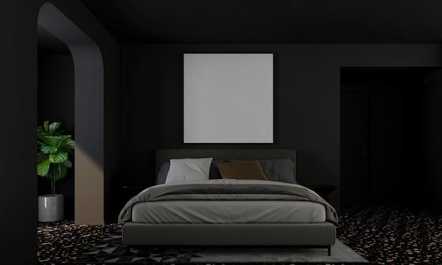 현대 가정 및 장식 침실과 검은 벽 질감 배경 3d 렌더링의 가구와 인테리어 디자인을 모의