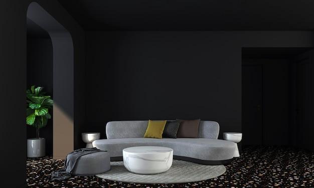 현대 가정과 장식은 아늑한 거실과 검은 벽 질감 배경 3d 렌더링의 가구와 인테리어 디자인을 모의