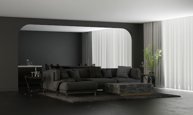 현대 가정과 장식은 아늑한 거실과 식당 및 식료품 저장실과 검은 벽 질감 배경 3d 렌더링의 가구와 인테리어 디자인을 조롱