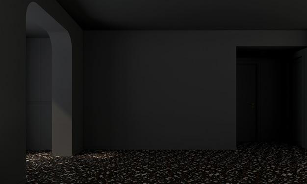 현대 가정 및 장식은 빈 거실과 검은 벽 질감 배경 3d 렌더링의 가구와 인테리어 디자인을 모의