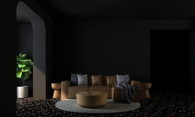 현대 가정 및 장식 거실과 검은 벽 질감 배경 3d 렌더링의 가구와 인테리어 디자인을 모의