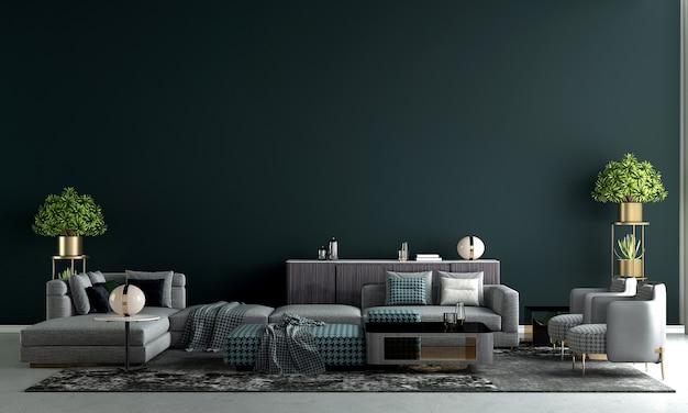 モダンな家と装飾は、豪華なリビング ルームの家具とインテリア デザインをモックアップし、ダーク グリーンの壁のテクスチャ背景 3 d レンダリング