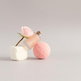 Modern home  beauty treatments concept rose spa ritual salt bath ball cube bath foam and gentle