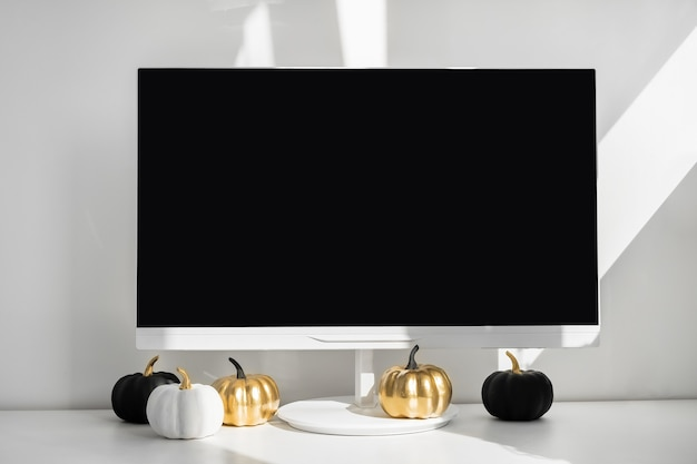 Modern home decor desktop computer with autumn decorations