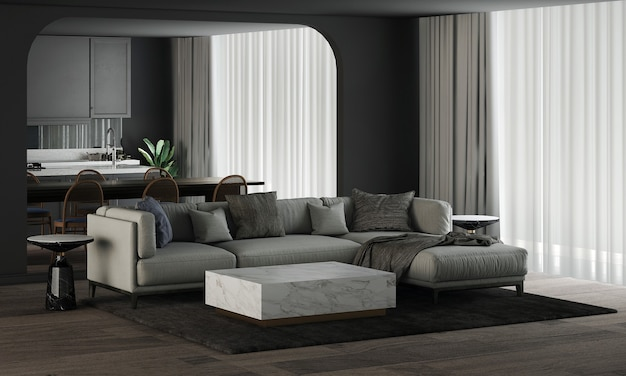 Modern home and decoration mock up furniture and interior design of beautiful living and dining and pantry room and black wall texture background 3d rendering
