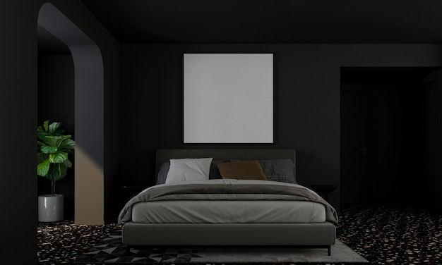 Modern home and decoration mock up furniture and interior design of bedroom and black wall texture background 3d rendering