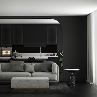 Modern home and decoration mock up furniture and interior design of cozy living room and dining and pantry and black wall texture background 3d rendering