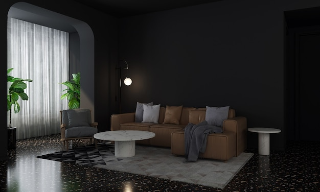 Modern home and decoration mock up furniture and interior design of cozy living room and empty black wall texture background 3d rendering