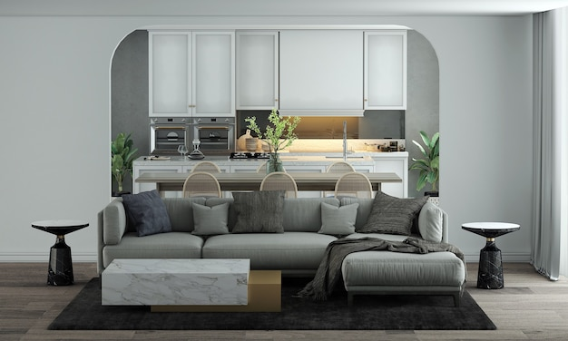 Modern home and decoration mock up furniture and interior design of living and dining and pantry room and white wall texture background 3d rendering