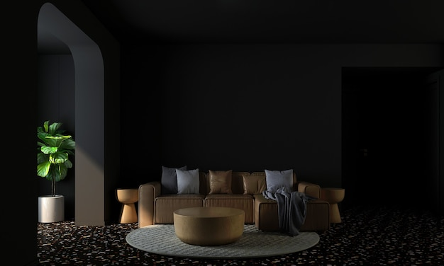 Modern home and decoration mock up furniture and interior design of living room and black wall texture background 3d rendering