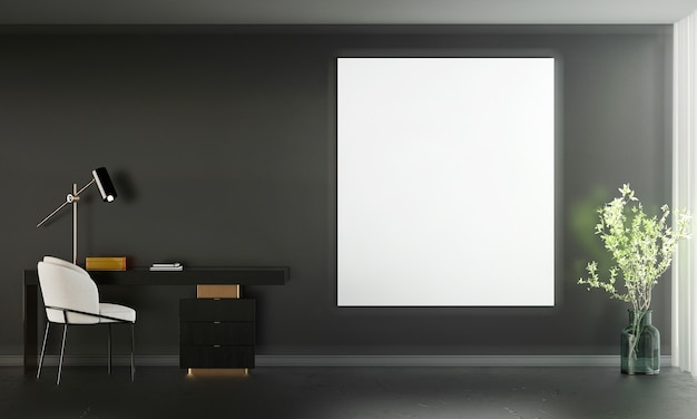 Modern home and decoration mock up furniture and interior design of working space and living room and empty canvas black wall texture background 3d rendering