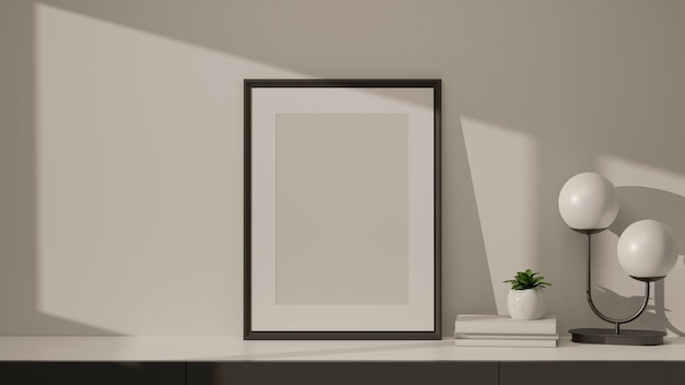 Современный дизайн интерьера дома с макетами рамочных ламповых книг и цветочным горшком на мраморном столе в гостиной