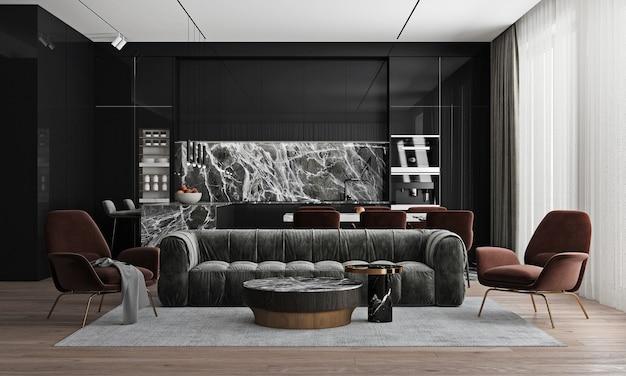现代家居室内模拟客厅和餐厅空间,舒适的茶几和装饰在黑色客厅,3d渲染