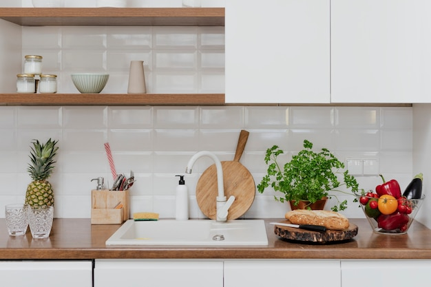 Modern home kitchen decor with a chopping board