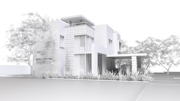 Modern home. monochrome 3d illustration of white plastic house and garden with garage. 3d rendering.