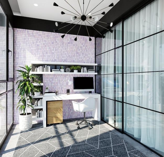 Интерьер современного домашнего офиса с фиолетовой мозаикой на стене. 3d рендеринг