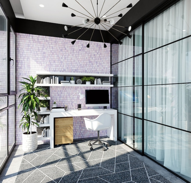 Modern home office interior with a purple mosaic on the wall. 3d rendering