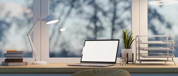 Modern home office laptop screen mockup on desk with papers organiser near windows 3d rendering
