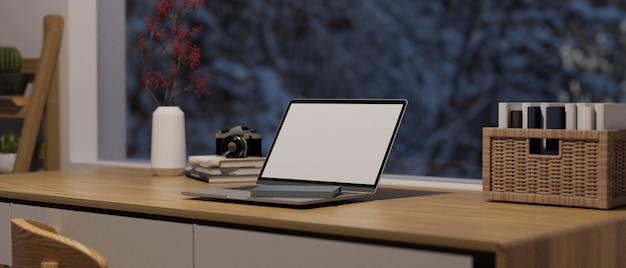 Modern home working space with big window, laptop computer blank screen mockup on wooden desk, 3d rendering, 3d illustration