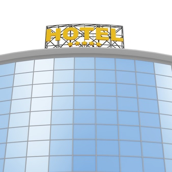 Modern hotel building isolated on white background