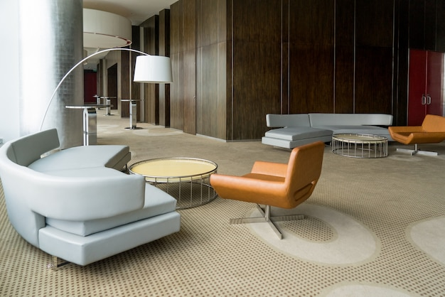 Modern hotel lobby with hallway or office lounge room.