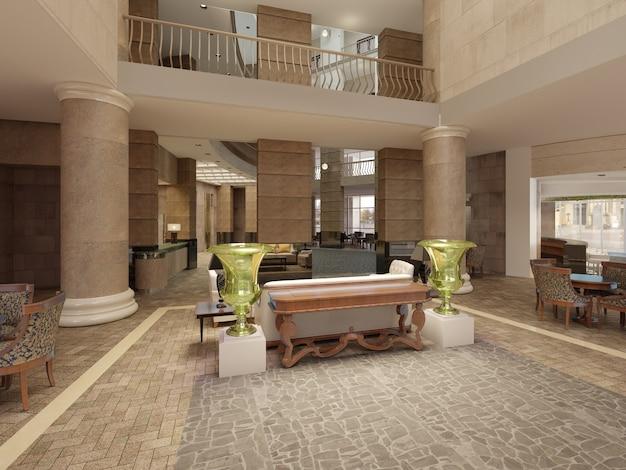다층 내부 공간과 발코니가 있는 현대적인 호텔 로비. 고전적인 스타일의 호텔 로비 인테리어. 3d 렌더링.