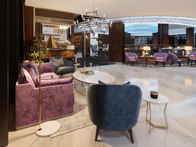 현대적인 호텔 현관과 중앙에 네온 조명이 있는 고급스러운 레스토랑. 3d 렌더링