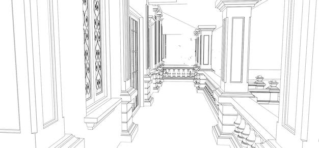 Modern house  3d rendering