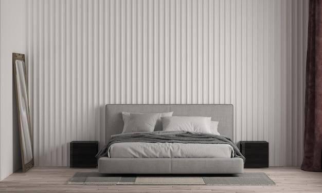 현대 집과 침실과 가구 인테리어 디자인과 흰 벽 질감 배경을 모의
