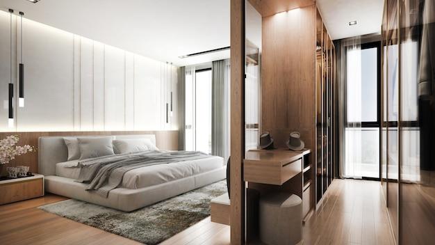 寝室とクローゼットの部屋と壁のテクスチャの背景のモダンな家とインテリアデザイン