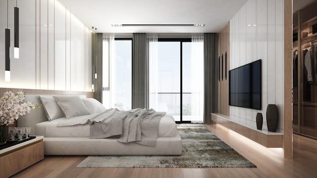 寝室と壁のテクスチャ背景のモダンな家とインテリアデザイン