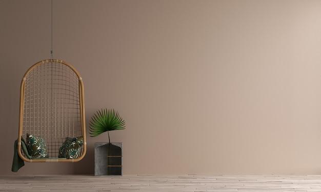 현대 집과 최소한의 거실과 가구 인테리어 디자인과 갈색 벽 질감 배경을 모의