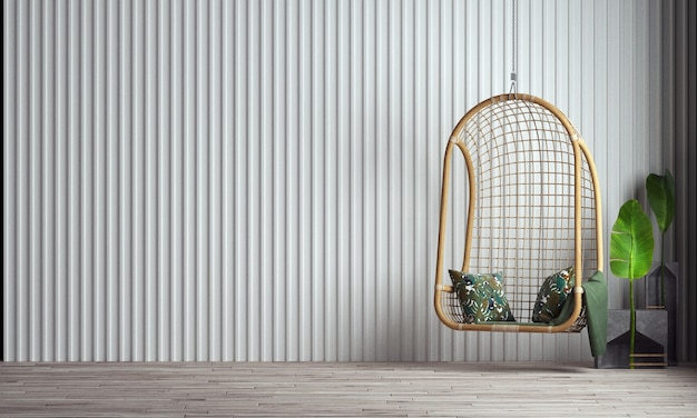 현대 집과 스윙 의자 거실과 가구 인테리어 디자인과 흰 벽 질감 배경을 모의