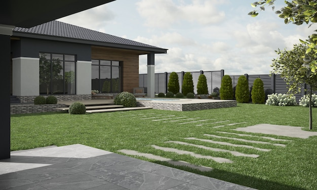 Современный дом коттедж внешний вид 3d иллюстрации 3d визуализации