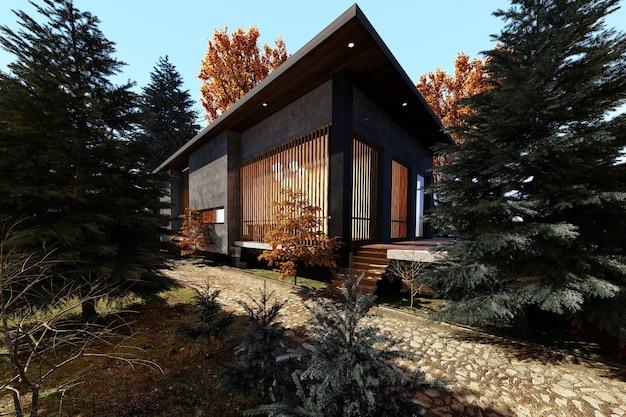 秋の森の中でモダンな家のデザイン、3dレンダリング
