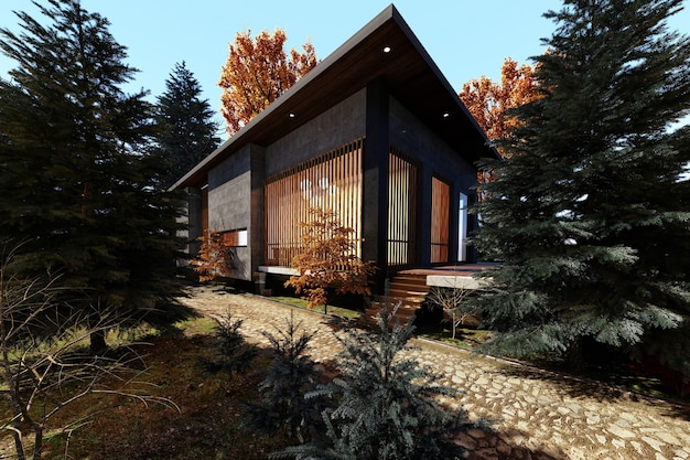 Modern house design in the woods in autumn, 3d render