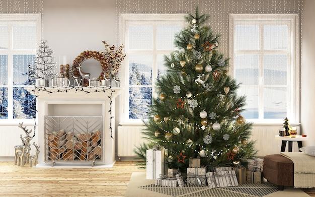 Интерьер современного дома с рождественскими украшениями и новым слёзным деревом