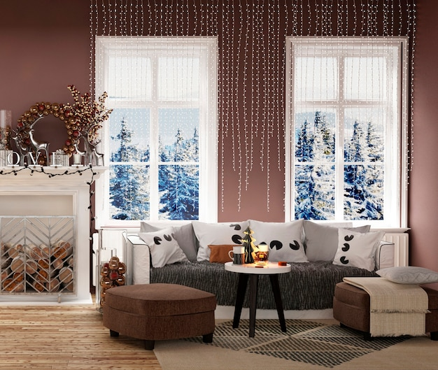 Modern house interior with new year tree and christmas decoration