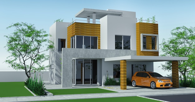 Modern house with carport lawn with mini garden.