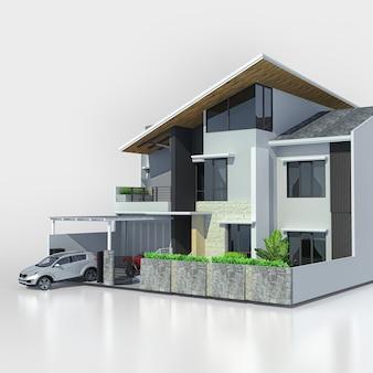 白い背景の上のガレージとモダンな家。 3dレンダリング。