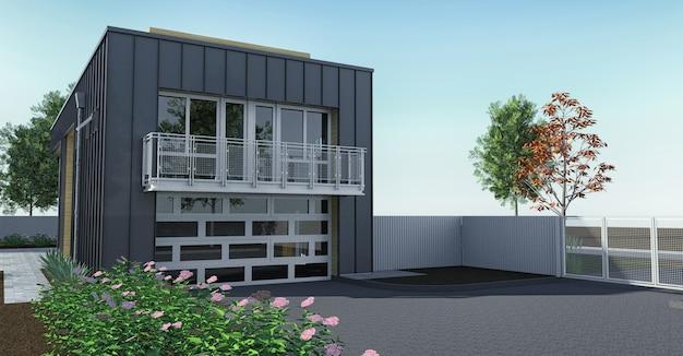 정원과 차고가있는 현대 집. 3d 렌더링.