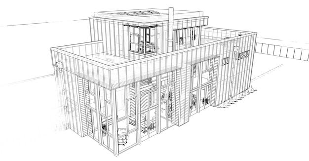 庭とガレージのあるモダンな家。 3dレンダリング。