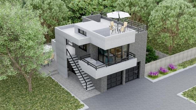 Современный дом с садом и гаражом. 3d-рендеринг.