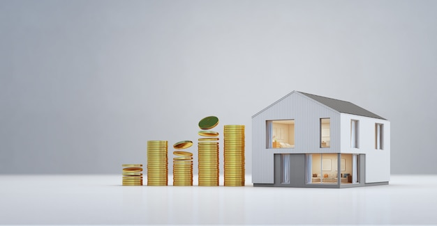 Modern house with gold coins in property investment and business growth concept.